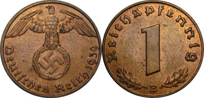 GermanCoins.com Bulk Lots 1 Pfennig Nazi Copper