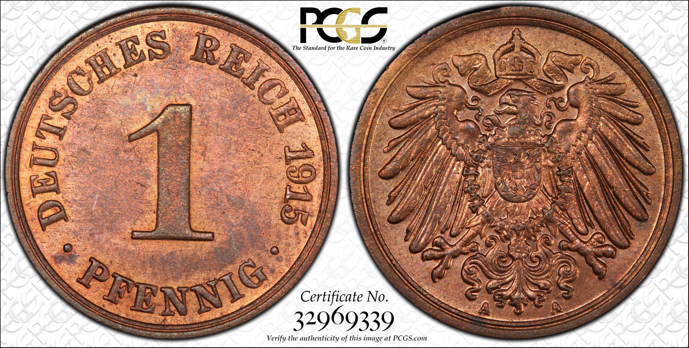 GERMANY 1 PFENNIG, LARGE EAGLE (1890-1916)
