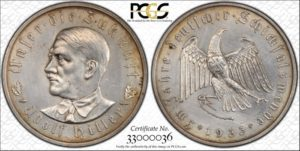 1933 Medal, C-30, Silver, PCGS Unc. details, cleaning.  36 mm.