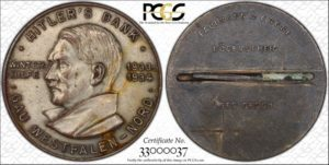 1934 Pinback Medal, C-21, Pot Metal, PCGS Unc. details, mount removed. 35 mm.