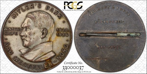 1934 Pinback Medal, C-21, Pot Metal, PCGS Unc. details, mount removed. 35 mm.