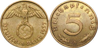 GermanCoins.com Bulk Lots 5 Pfennig Nazi Brass