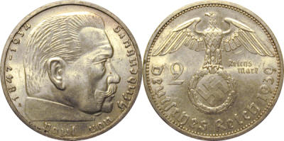 GermanCoins.com Bulk Lot VF+ 2 Mark Hindenburg Nazi Coin