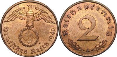 GermanCoins.com Bulk Lots 2 Pfennig Nazi Copper