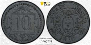 Poland / Danzig 1920 10 Pfennig, KM-Tn1, PCGS MS63