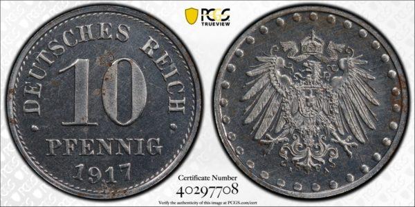 Germany 1917-A 10 Pfennig, KM-20, Iron, PCGS PR63