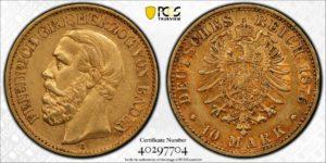Baden 1876-G 10 Mark Gold, PCGS AU53